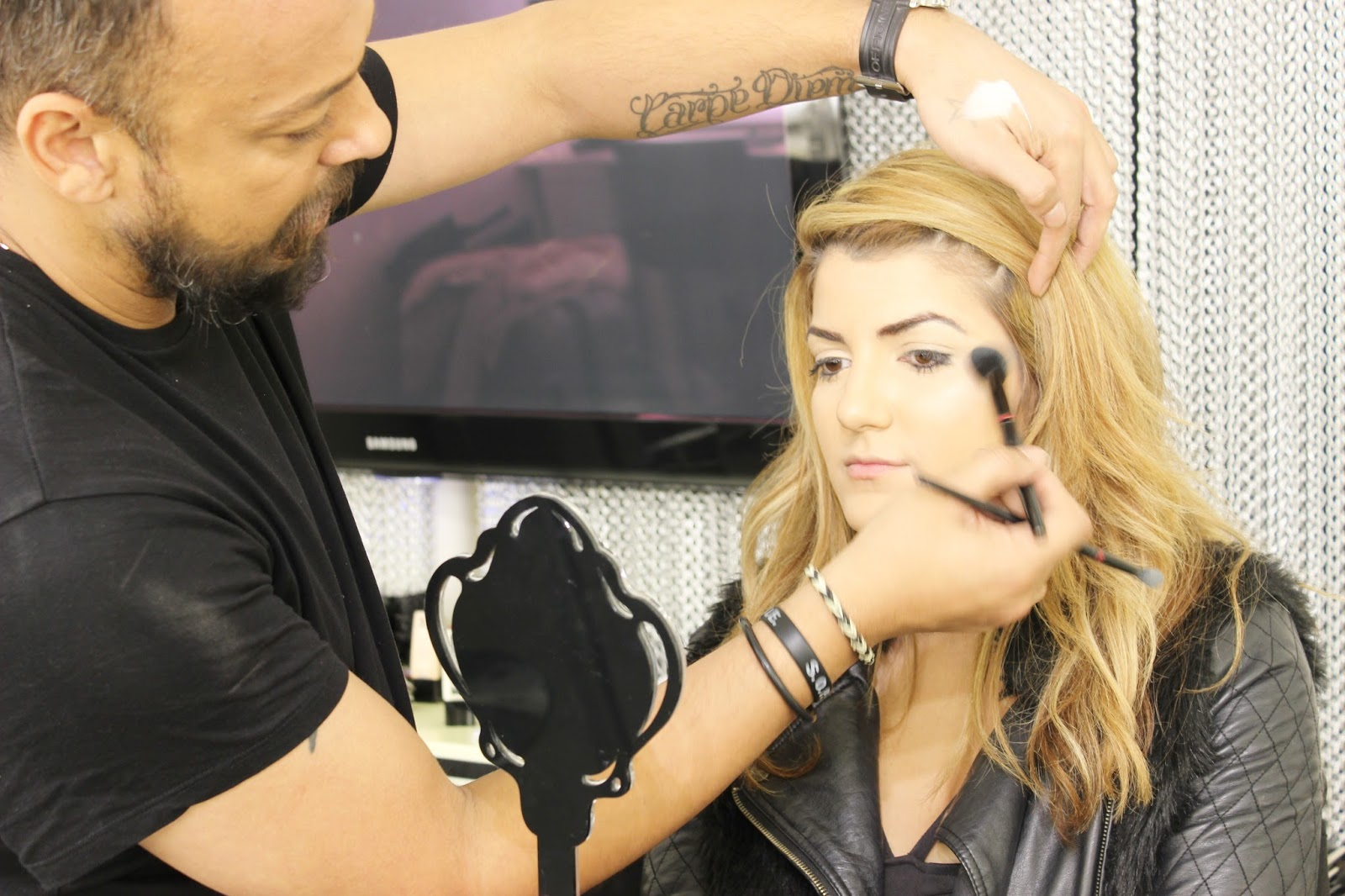 Illamasqua skin sculpting course - highlighting in progress