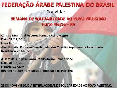 Federação Palestina convida para semana de solidariedade