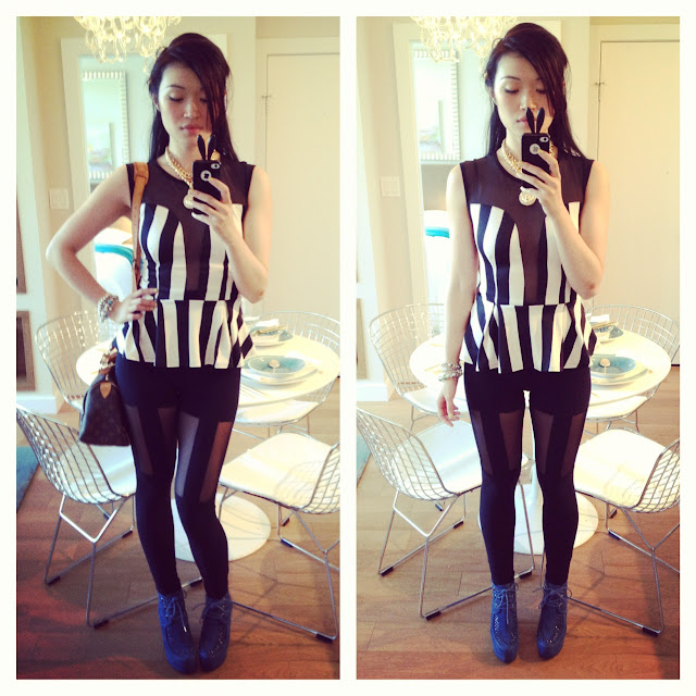 wantering spring trends black and white strips, black and white stripe peplum top from necessary clothing, suspender leggings from necessary clothing, louis vuitton speedy 25
