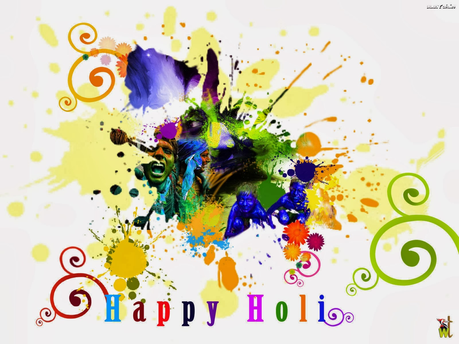 Happy colorful holi greetings wishes sms in english kristyandbryce Images