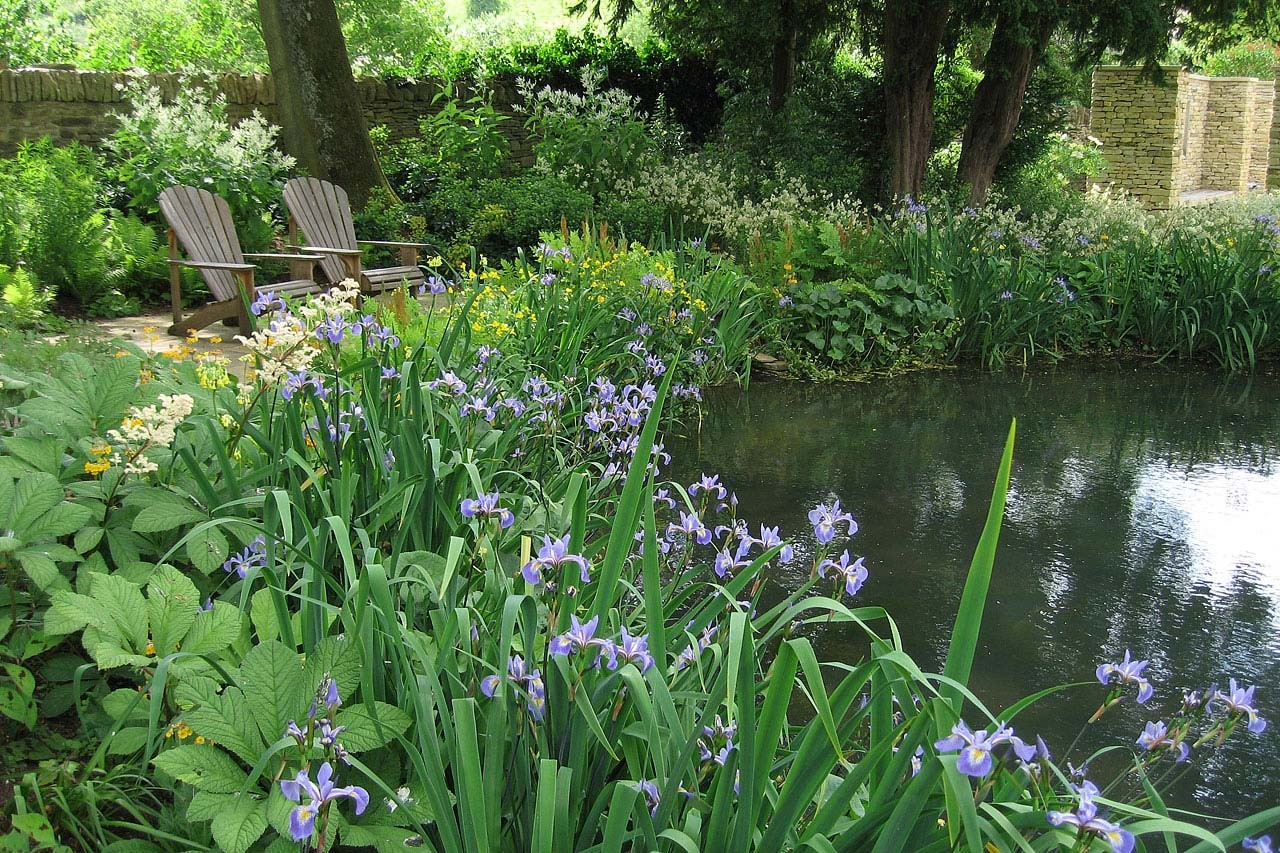 The garden in the cotswolds for Plants for around garden ponds