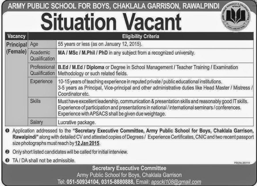 Latest Army Public School Rawalpindi Jobs