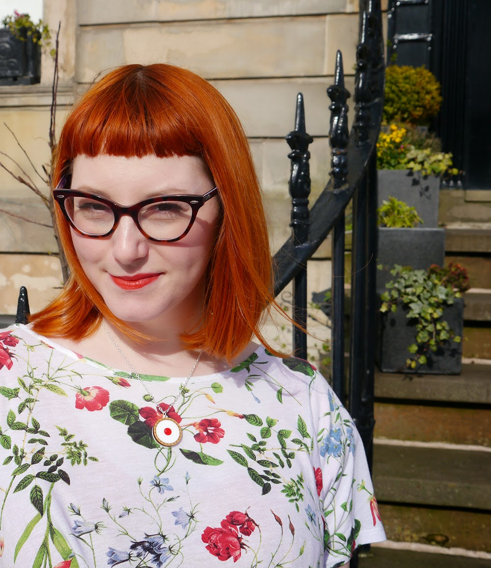 What Helen Wore, Scottish Blogger, Red Head, Glasgow, Hillary's Crafternoon, Sugar & Vice, Cherry Bakewell necklace, floral tee, floral tshirt,