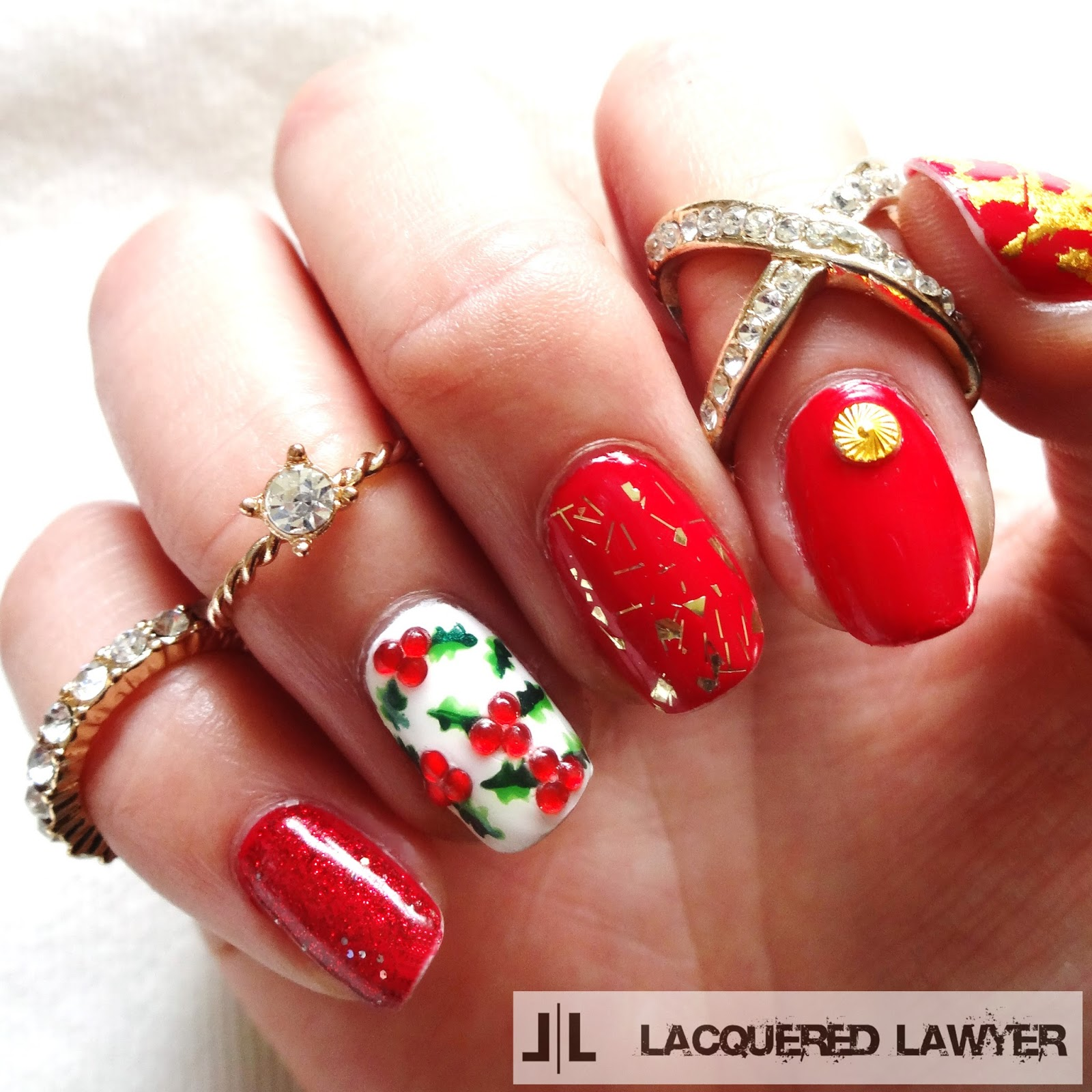 Lacquered lawyer nail art blog holly berry holly christmas nails prinsesfo Gallery