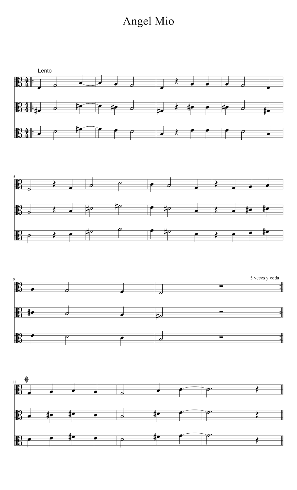 Partitura de Angel mio En Clave de Do