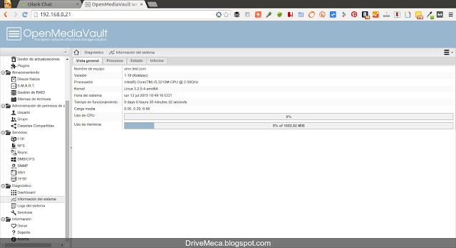 DriveMeca actualizando OpenMediaVault paso a paso