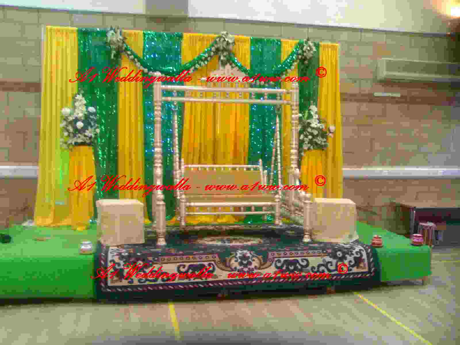Ghosia caterers flowers decoration mehndi stage for Muslim wedding home decorations