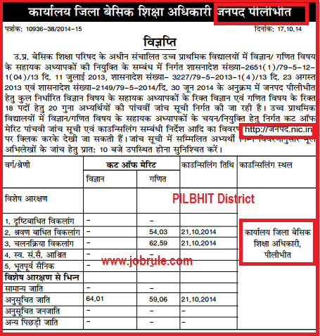 UP DIET JRT 29334 5th Counseling Cut Off Merit List Of Gorakhpur, Jhansi, Sitapur, Kheri & Pilbhit