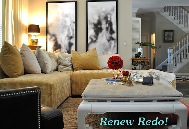 Renew redo gold silver black white and pink - White and silver living room ...