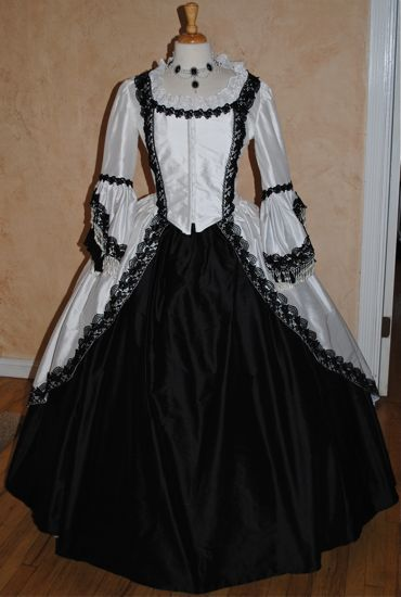 White and Black Victorian Prom Dress