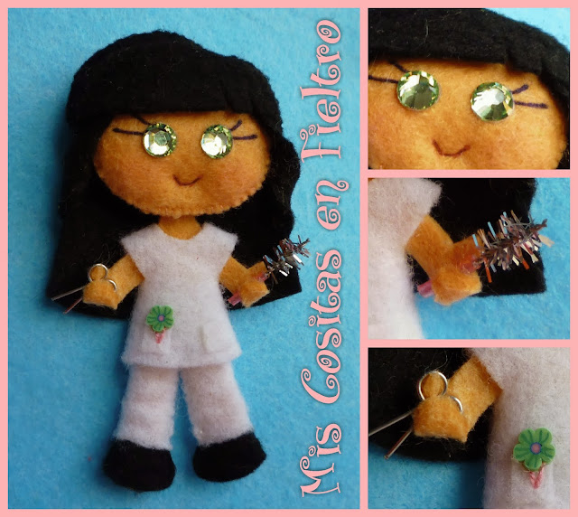 broche de fieltro, broche en fieltro, fieltro broche, broche, fieltro, felt,   regalo, pin, Monigota, peluquera, broche peluquera, hair stilist