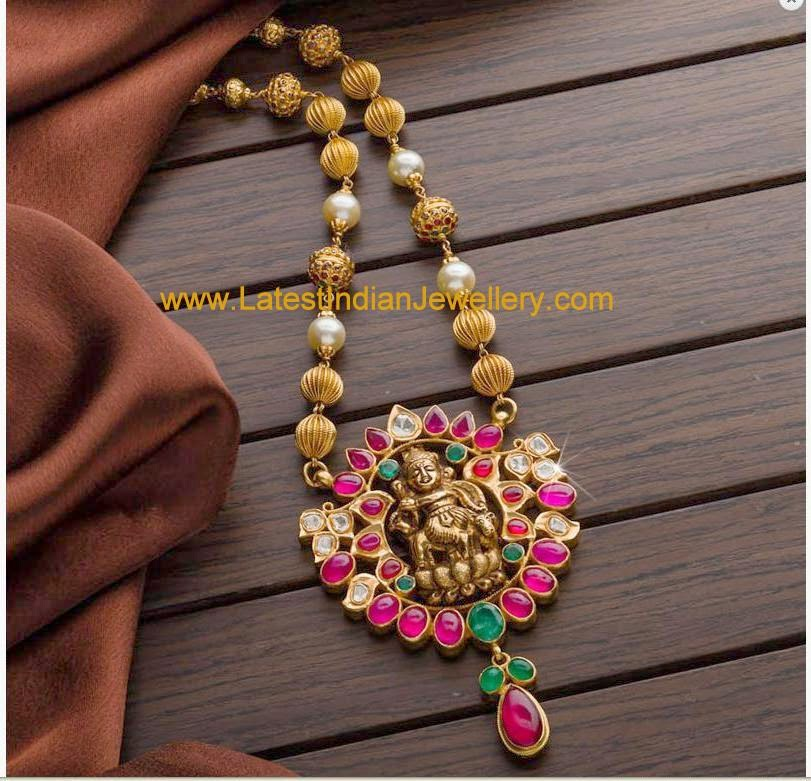 Gold Balls Temple Jewellery Necklace
