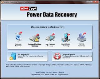 Menu Mini Tool Power Data Recovery