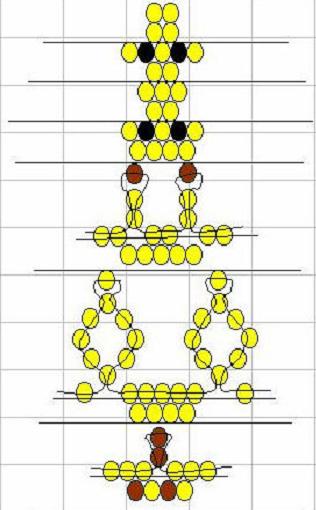 Жираф из бисера. Схема головы