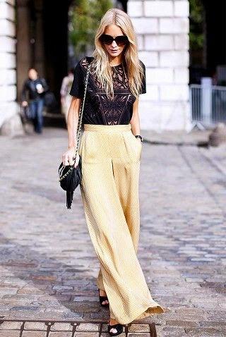 Esencia Trendy Inspiración Invitada boda pantalones palazzo evento pantalon amarillo tacones look outfiit estilo como llevar