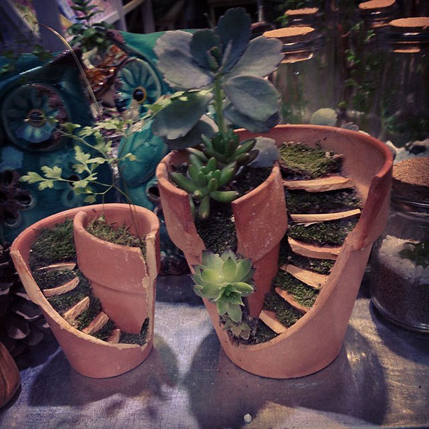 Macetas rotas se convierten en brillante bricolaje de jardines de hadas