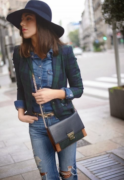 Chambray shirt, distressed jeans and blazer fashion