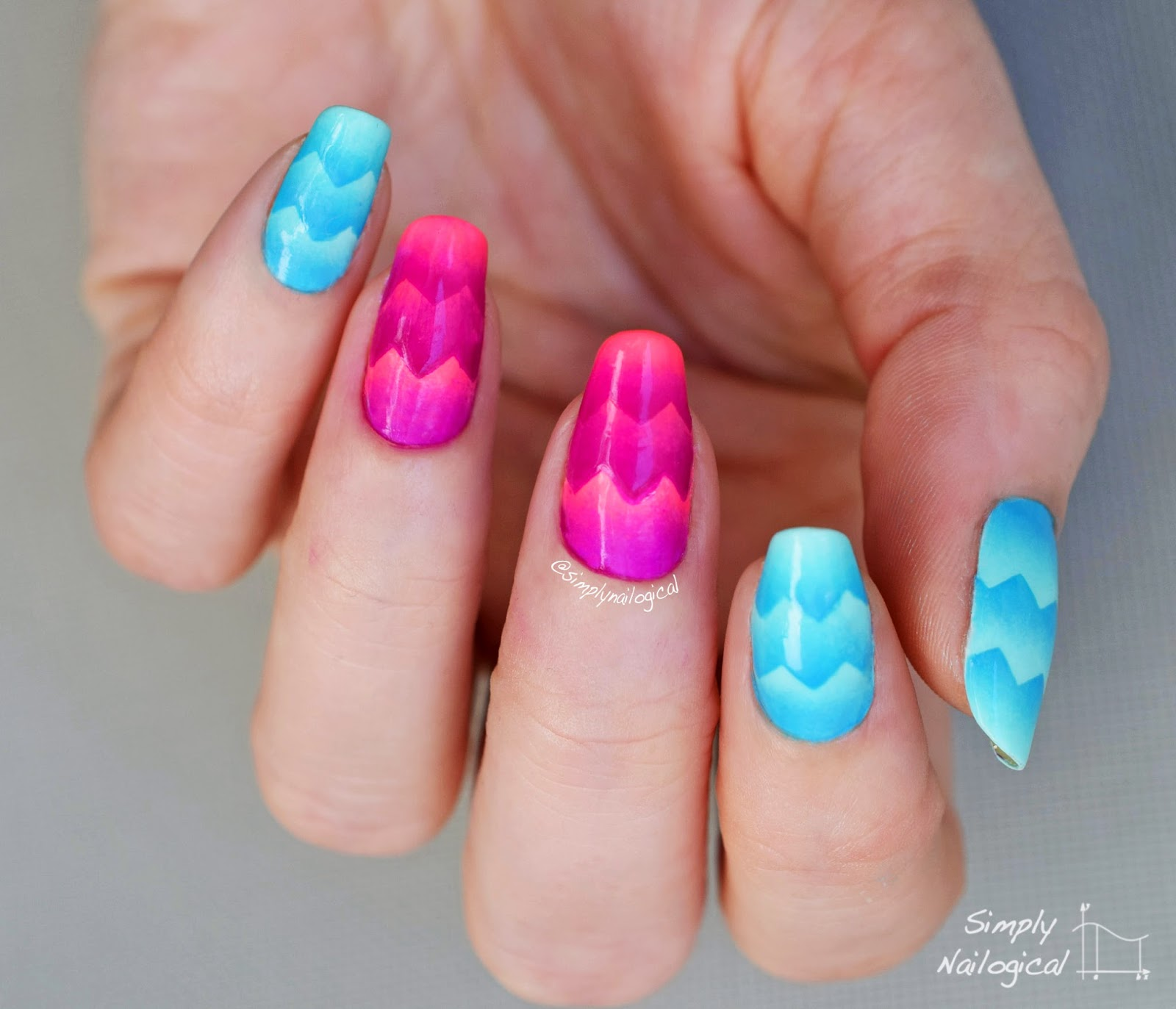 Simply Nailogical: Neon pink and blue triple chevron scaled gradient