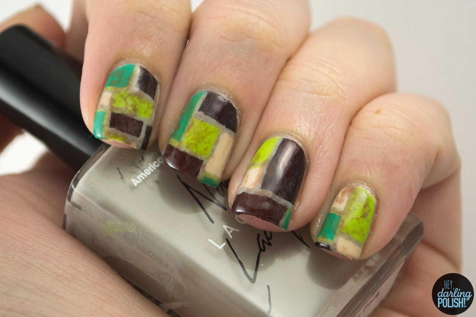 nails, nail polish, nail art, polish, color block, green, brown, white picket fence, you get me high, hey darling polish