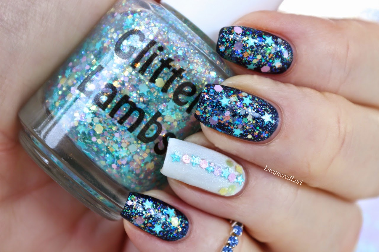 "Glitter Lambs ""Baby Blue Eyeliner""  Glitter Topper Nail Polish ""Fashion Makeover Collection""  Swatched by @LacqueredLori"