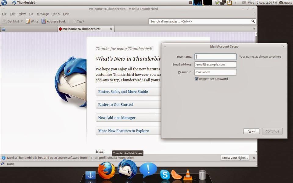 Pinguy OS mozillla thunderbird