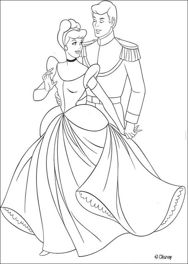 Coloring Pages Princess Cinderella And Prince Dancing Princess Cinderella Coloring Pages