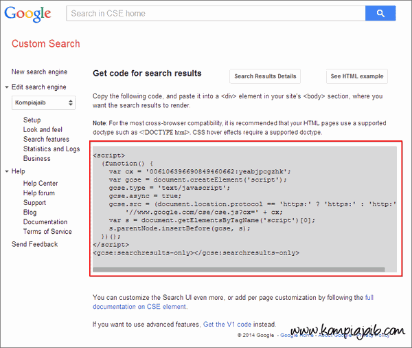 Get Code Google Search Engine