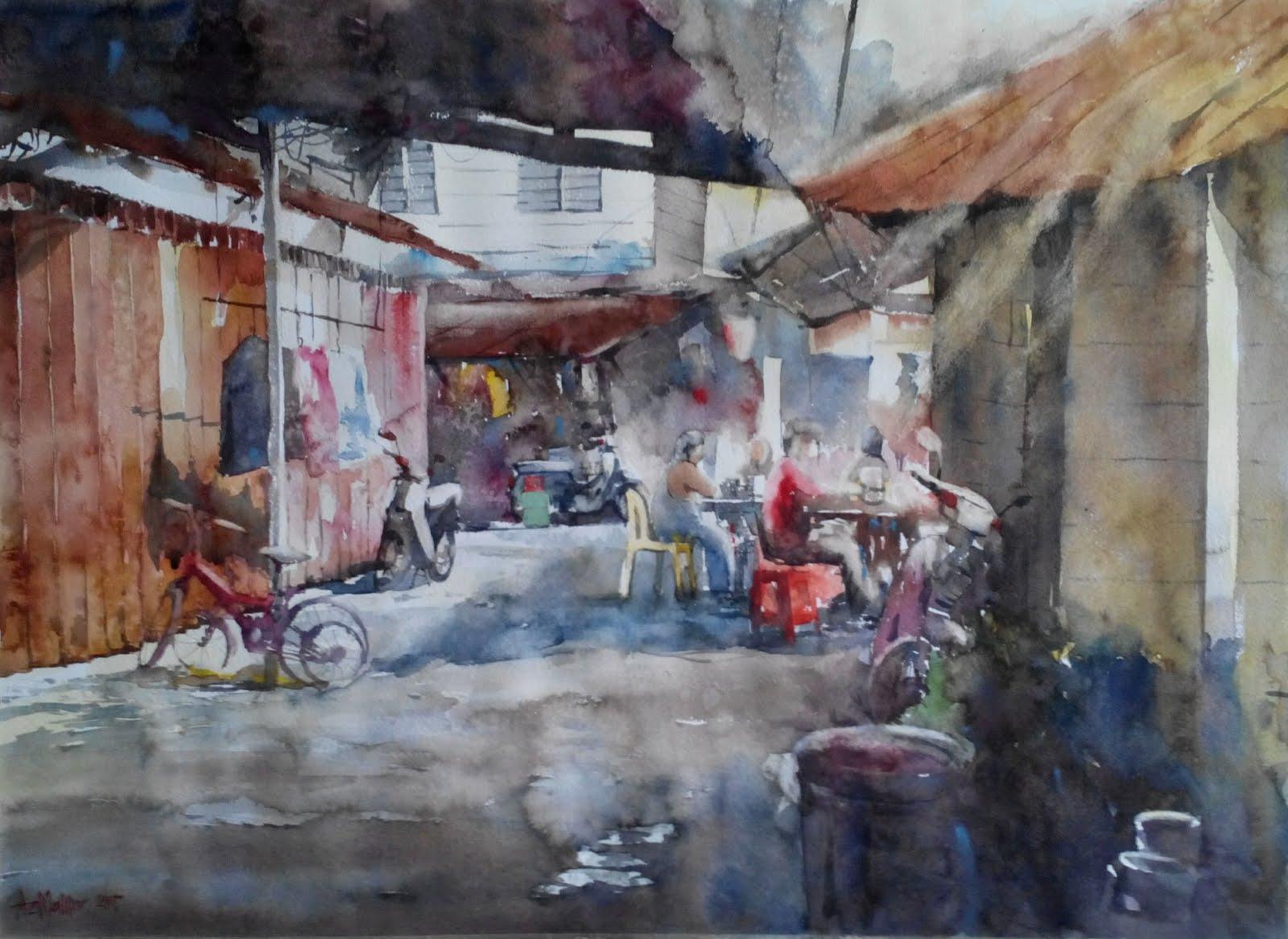 Watercolor: Demi sesuap nasi...Kg. Baru KL