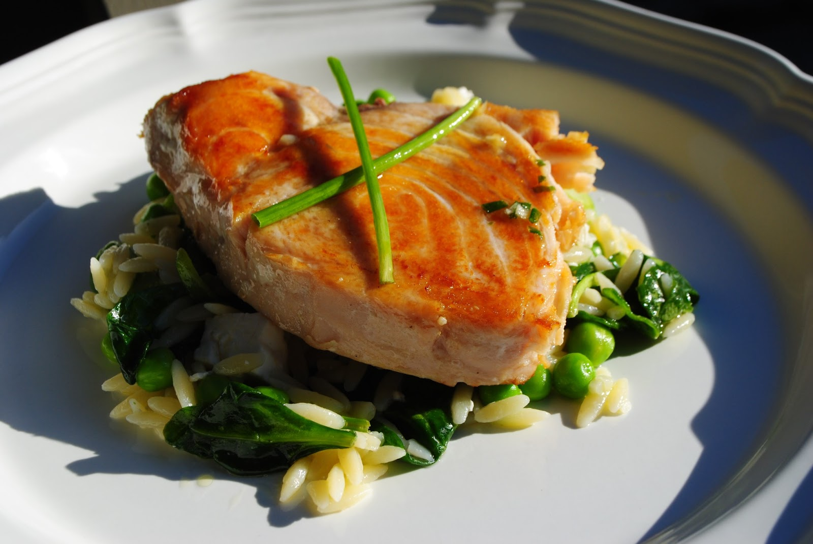 Week night yum yum opah with spring vegetable orzo the for Opah fish recipes