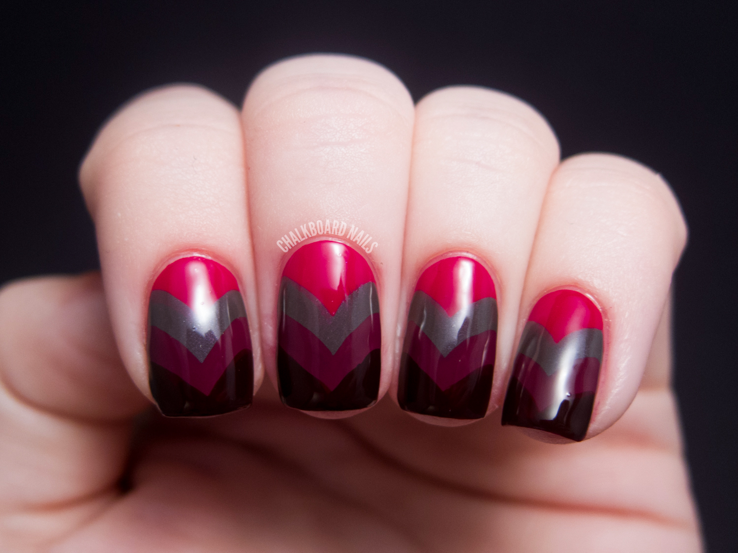 Vampy Fishtail - China Glaze On Safari Nail Art | Chalkboard Nails ...