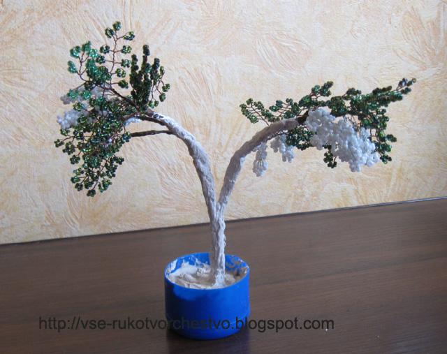 Цветы на дереве из бисера мастер класс