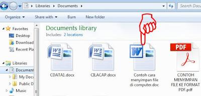 Contoh cara menyimpan file di computer berhasil disimpan