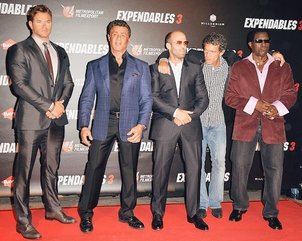 KELLAN LUTZ WEARS ERMENEGILDO ZEGNA GREY SUIT AT THE EXPENDABLES 3 PARIS PREMIERE