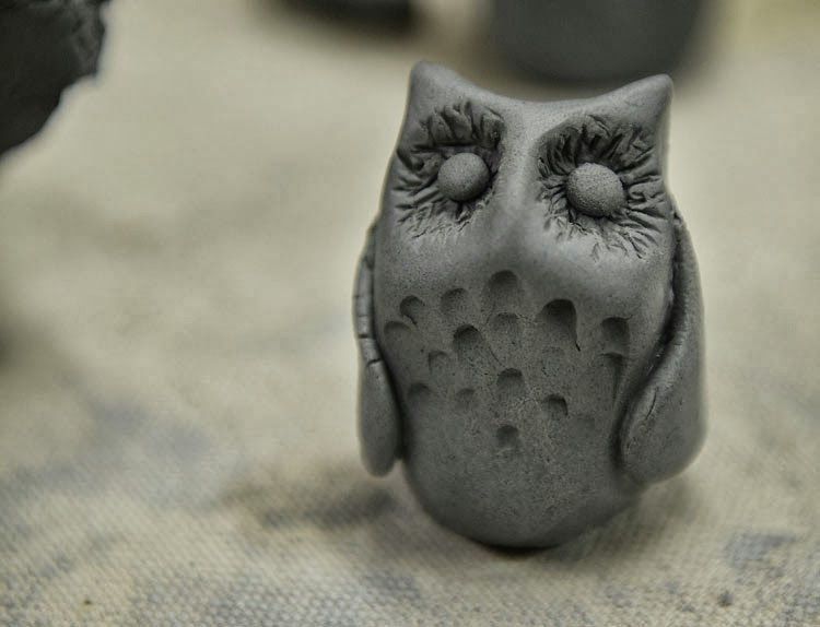 Cute miniature owl made out of clay