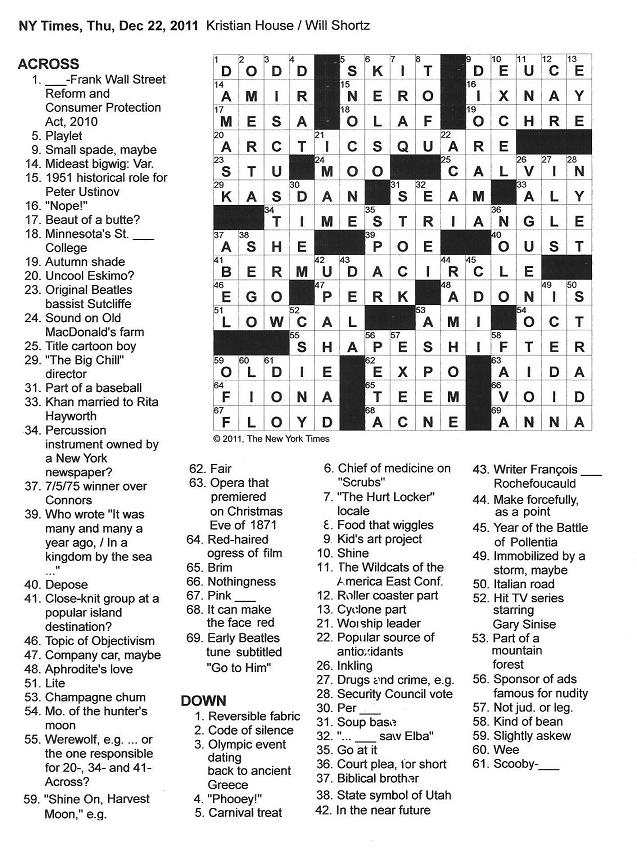 The New York Times Crossword In Gothic 122211 Shapeshifting