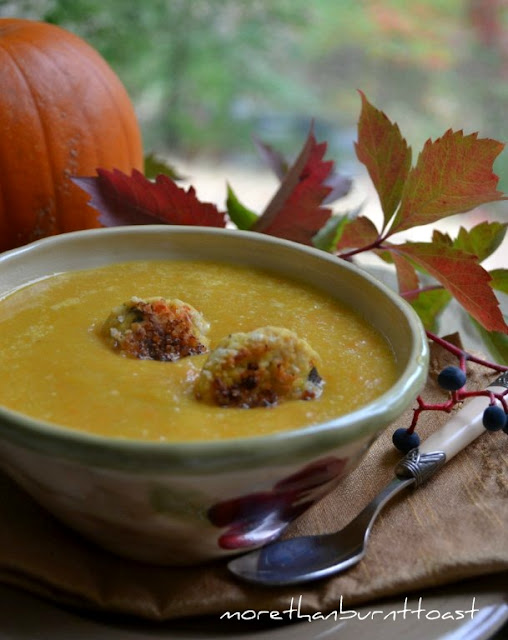 roasted squash soup with leftover turkey or chicken croquettes