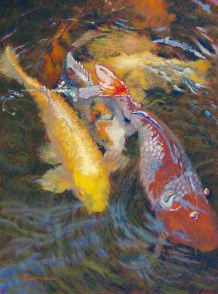 Daily artwork by carolyn jean thompson flick of the tail for Koi fish tail