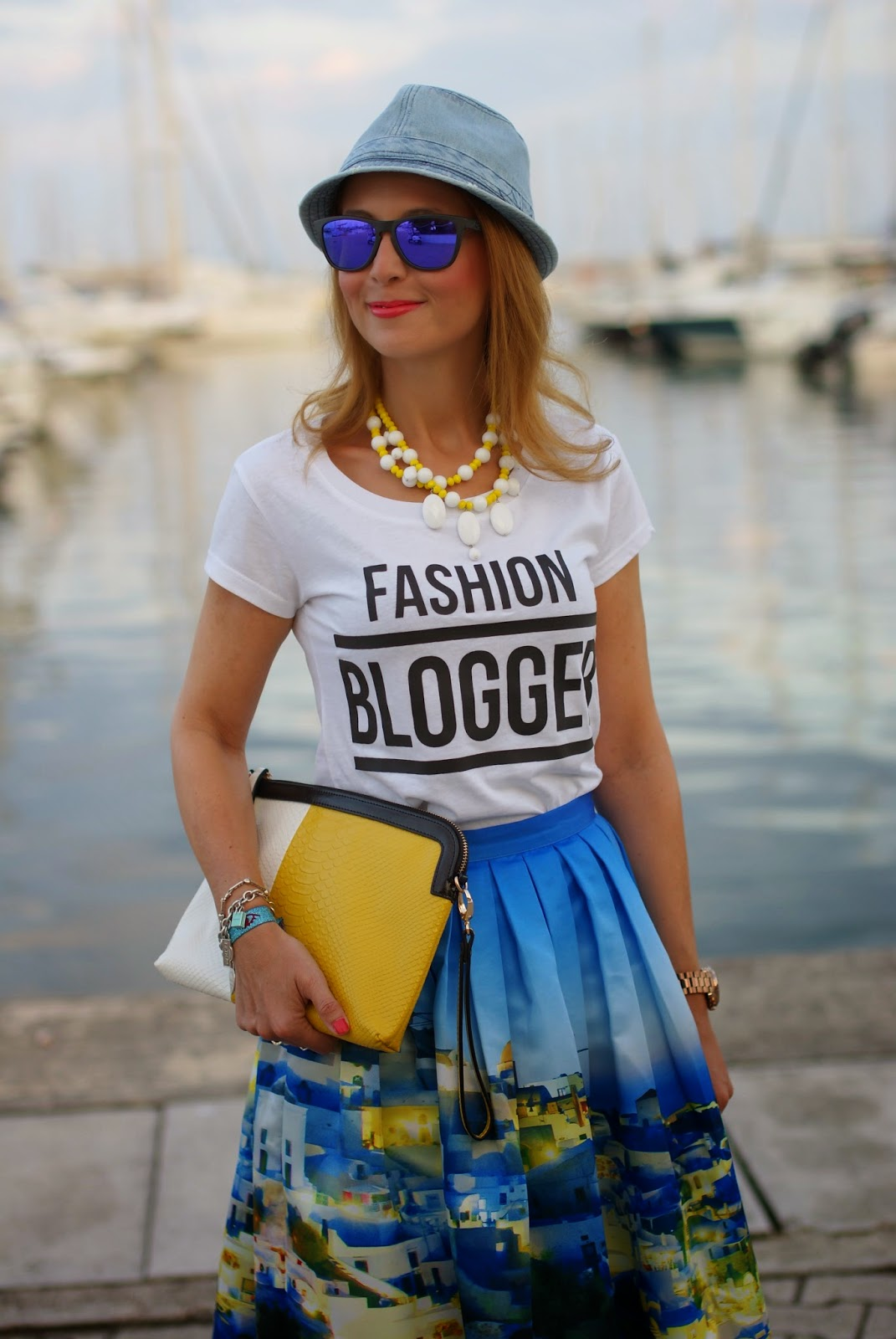 Chicwish Santorini skirt, fashion blogger tee, blue patent leather shoes, santorini skirt, Fashion and Cookies, fashion blogger