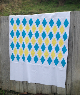 Blue and yellow Oasis quilt