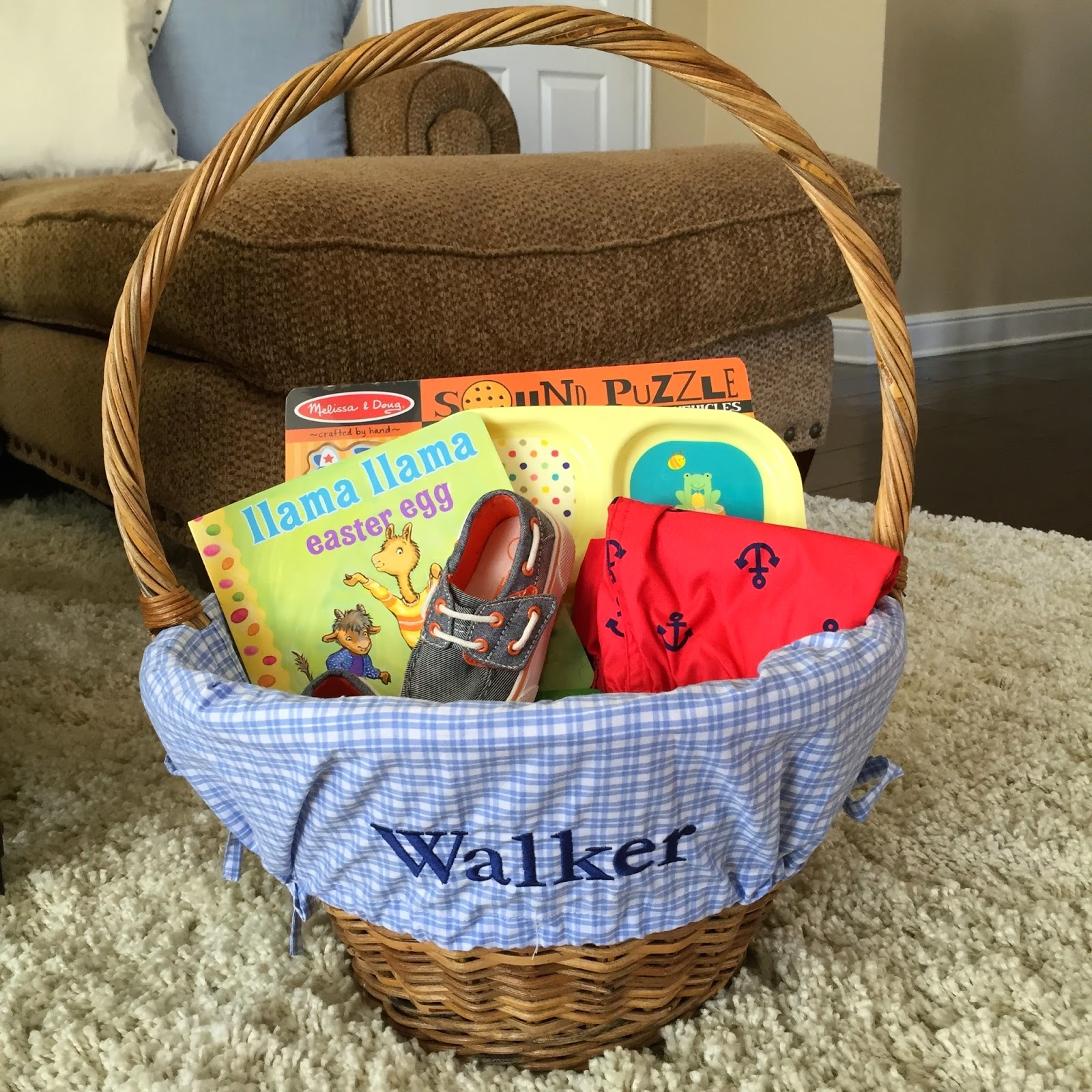 Life as the mrs easter basket blog hop walkers easter basket inside his easter basket is llama llama easter egg a pair of shoes a divided plate from targets 1 aisle sidewalk chalk a swimsuit and rash guard negle Choice Image