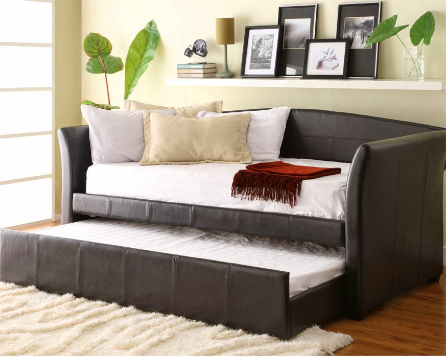 A daybed and with a second bed (trundle) underneath: