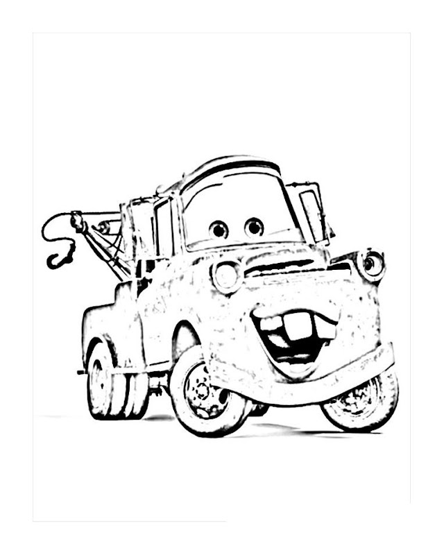 Free Printable Disney Cars Tow Mater Coloring Pages title=