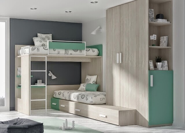 Litera alta con cama cruzada - Muebles originales madrid ...