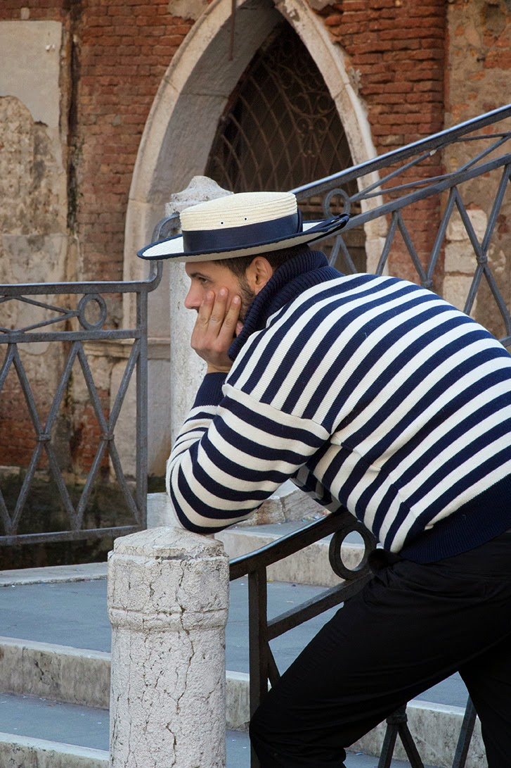 navy blue striped gondolier