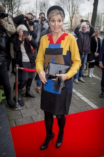 Queen Maxima attends the Prix de Rome award ceremony in the Appel Arts Centre. Queen Maxima wore Spijkers en Spijkers Grasshopper Multi Colour Dress