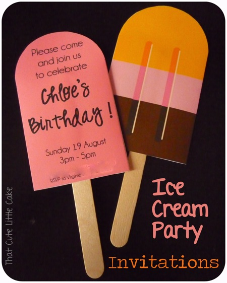 That Cute Little Cake Ice Cream Party Invitations – Ice Cream Party Invitation