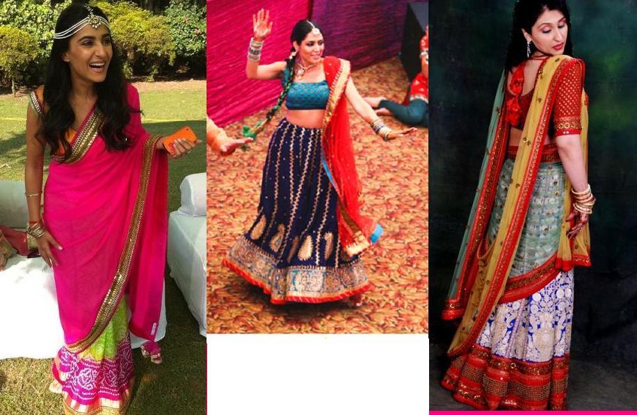 Mehndi Bridal Lehnga : Orange and pinkk mehndi sangeet lehenga inspirations