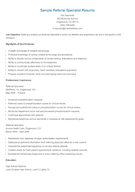 Resume Samples Sample Referral Specialist Resume