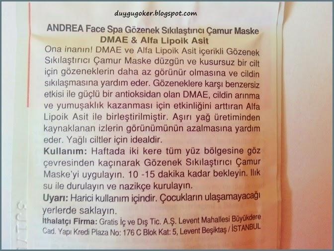 Andrea Çamur Maskesi