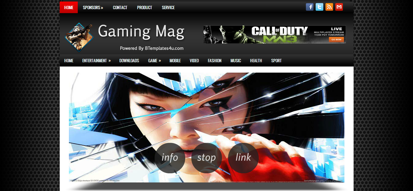 Gaming Mag Blogger Template | Cool Blog Templates | Premium ...
